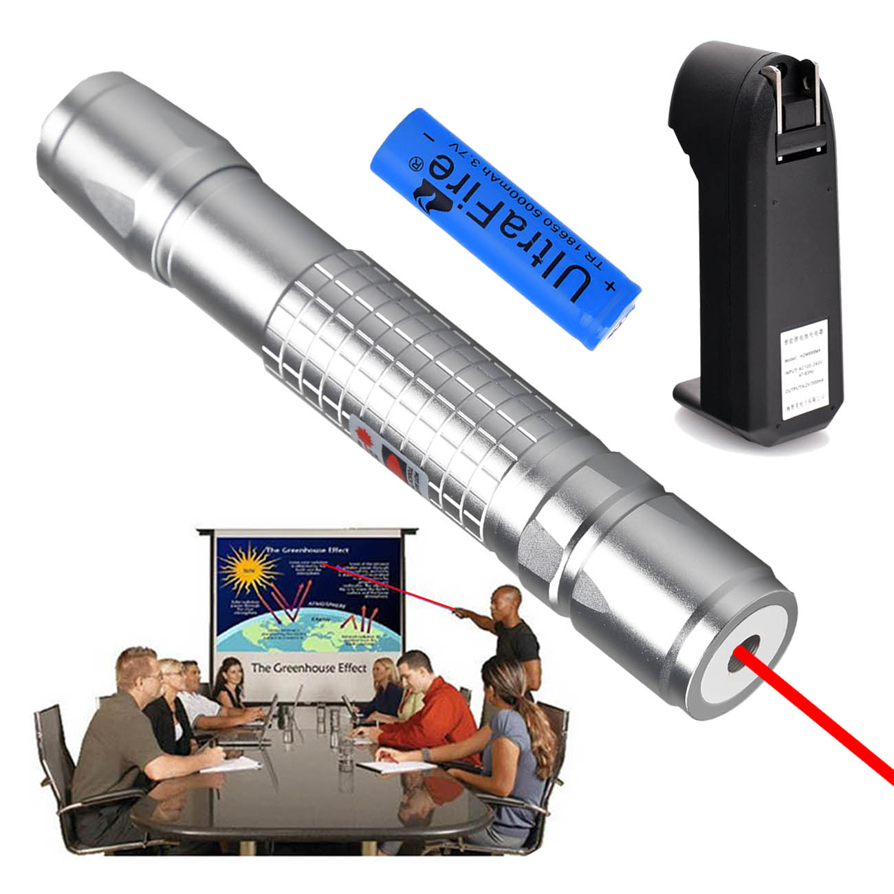 1mw 650nm Visible Red Beam Light Professional Laser Pointer Pen &18650&Charger