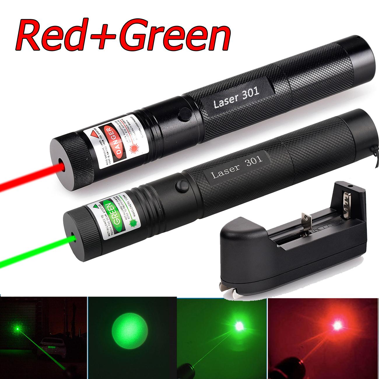10Miles 532nm Green&650nm Red Beam Light Power Laser Pointer Pen+ Smart Charger