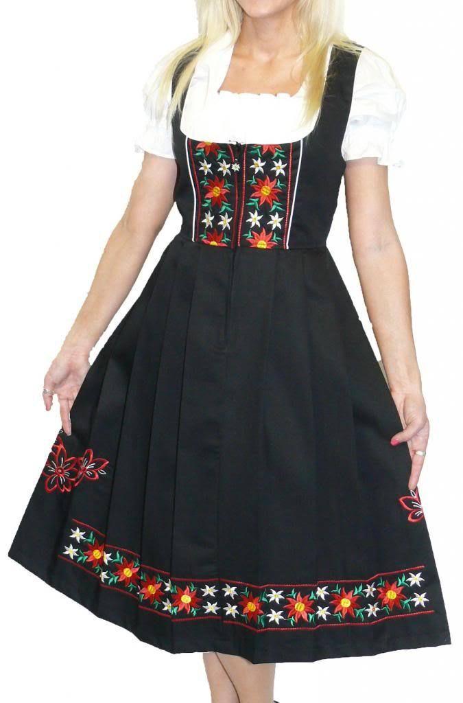 Details about DIRNDL TRACHTEN HAUS Black German Dress Oktoberfest Waitress Long EMBROIDERY 3pc