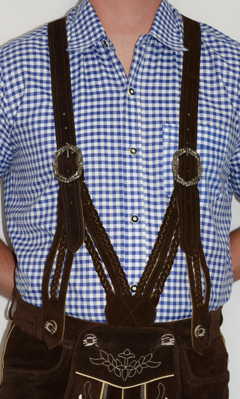 SUSPENDERS-LEATHER-German-Lederhosen-Shorts-Pants-Oktoberfest-Trachten-BRAIDED thumbnail 5