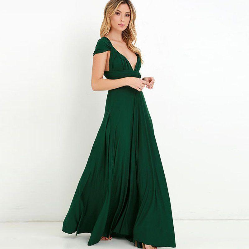 Damen Lange Kleid Convertible Multi Way Wrap Abendkleid MaxiParty ...