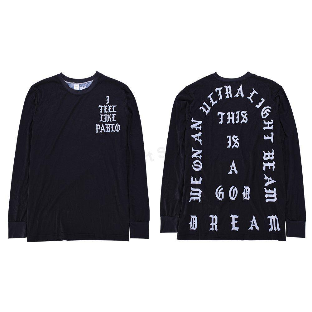 Black-I-Feel-Like-Pablo-Kanye-West-Season-Long-Sleeve-Men-039-s-Casual-T-shirts