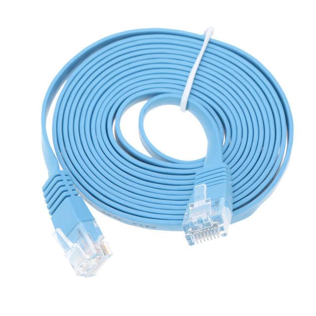 Blue High Speed CAT 6 Flat CAT6 UTP Network Ethernet Cable RJ45 LAN ...