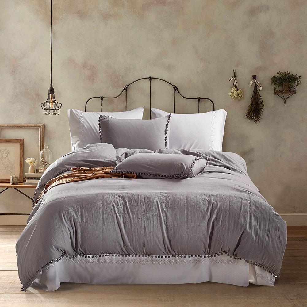 lightweight microfiber duvet cover set solid color bedding set twin queen king ebay. Black Bedroom Furniture Sets. Home Design Ideas
