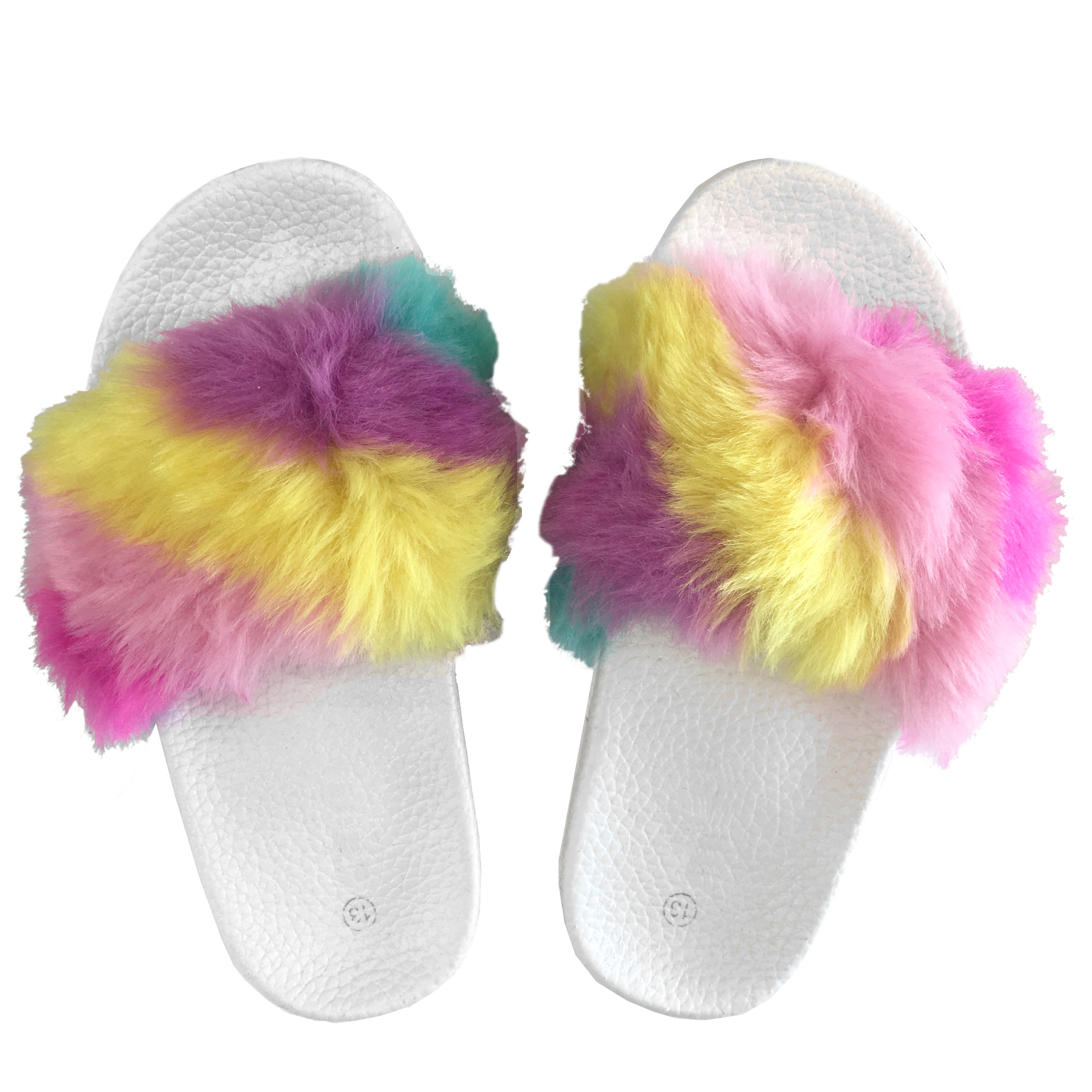 4dc1de99cb5 Popular Girls  Fuzzy Faux Fur Slide Slip On Sandals - Rainbow - 12