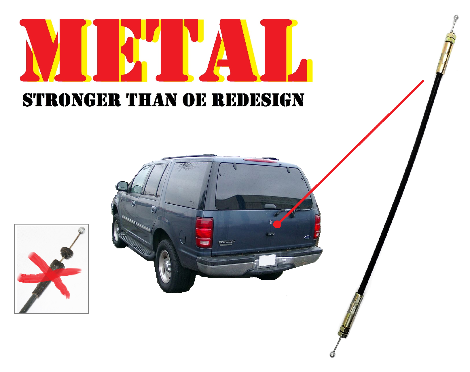 Metal Tailgate Liftgate Rear Window Latch Release Cable