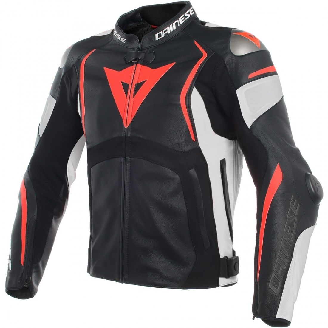 Dainese Mugello Black White Fluo Red Leather Motorcycle Jacket