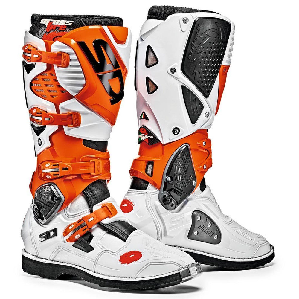 sidi crossfire 3 white orange boots motorcycle boots new ebay. Black Bedroom Furniture Sets. Home Design Ideas