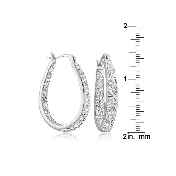 White Crystal Inside//Outside Oval Hoop Earrings with Gift Pouch