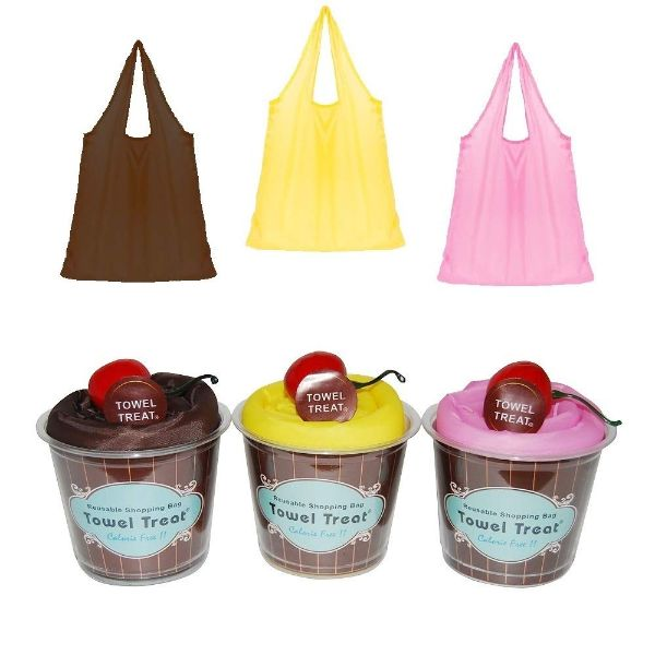 Reusable Grocery Shopping Tote - Cupcake Design - 3 Pack