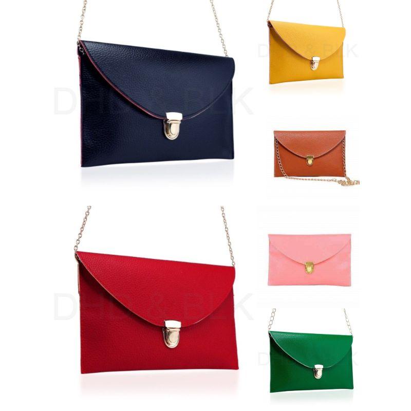 Synthetic Leather Envelope Clutch-Style Purse - 6 Colors (Evcbk_parent) photo
