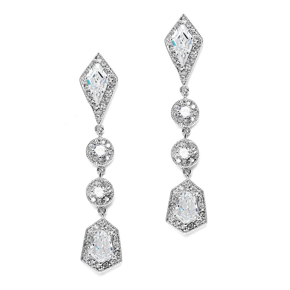 a4c358e38968 Mariell Empress   Noble Cut Cubic Zirconia Wedding Earrings - Art Deco  Vintage Bridal Jewelry