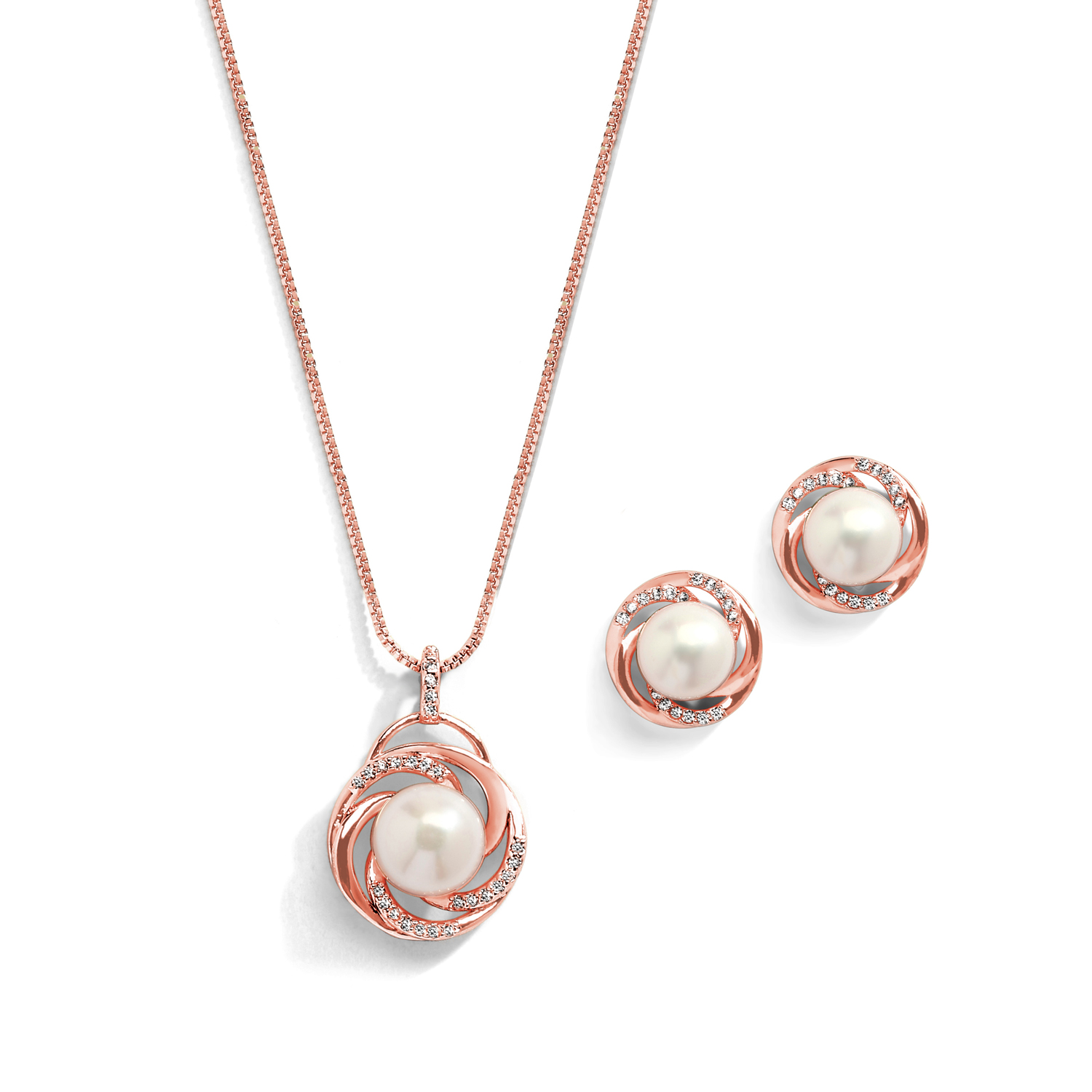 c2f1e1a10 Mariell Freshwater Pearl Wedding Necklace and Earrings Rose Gold Jewelry Set  for Bridesmaids & Brides