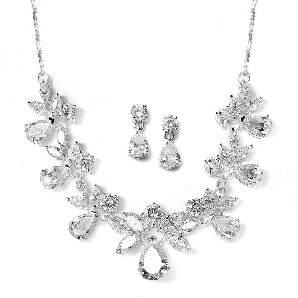 cda1edd0 Details about Mariell Multi-Shape Silver CZ Necklace & Earring Wedding  Jewelry Set for Brides