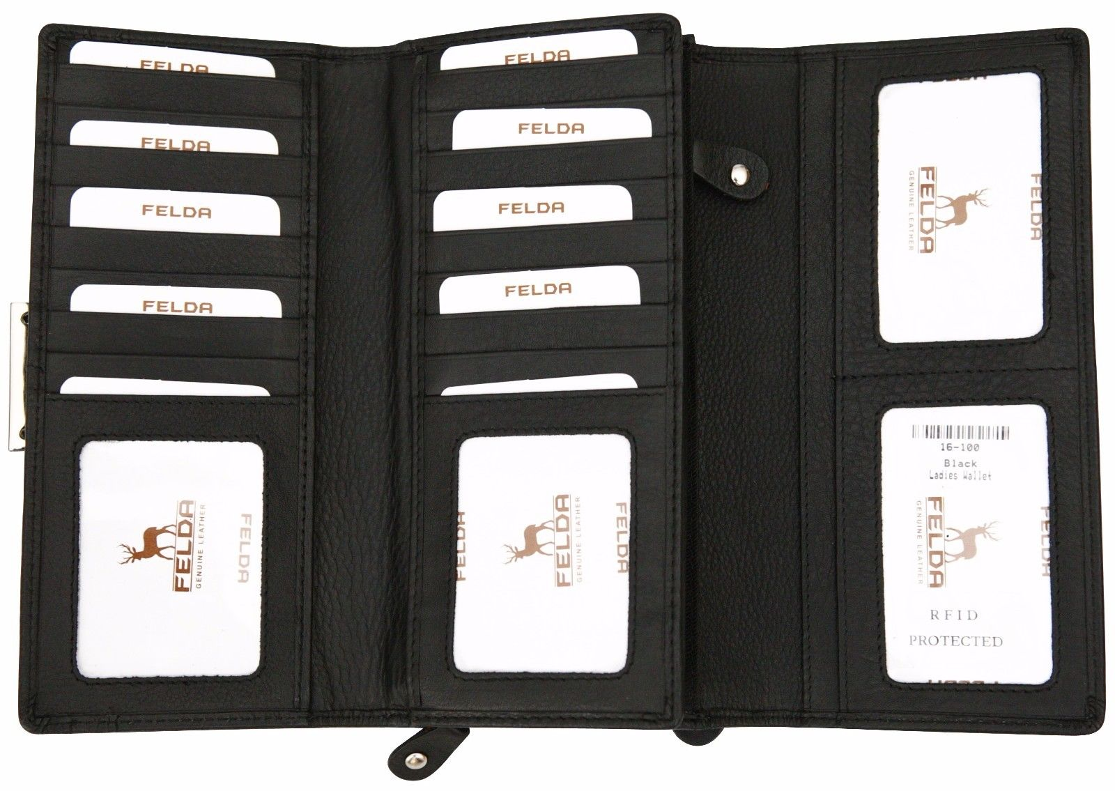 Felda-RFID-Ladies-Leather-Soft-Wallet-Large-Capacity-Purse-Womens-Multi-24-Card miniatuur 16