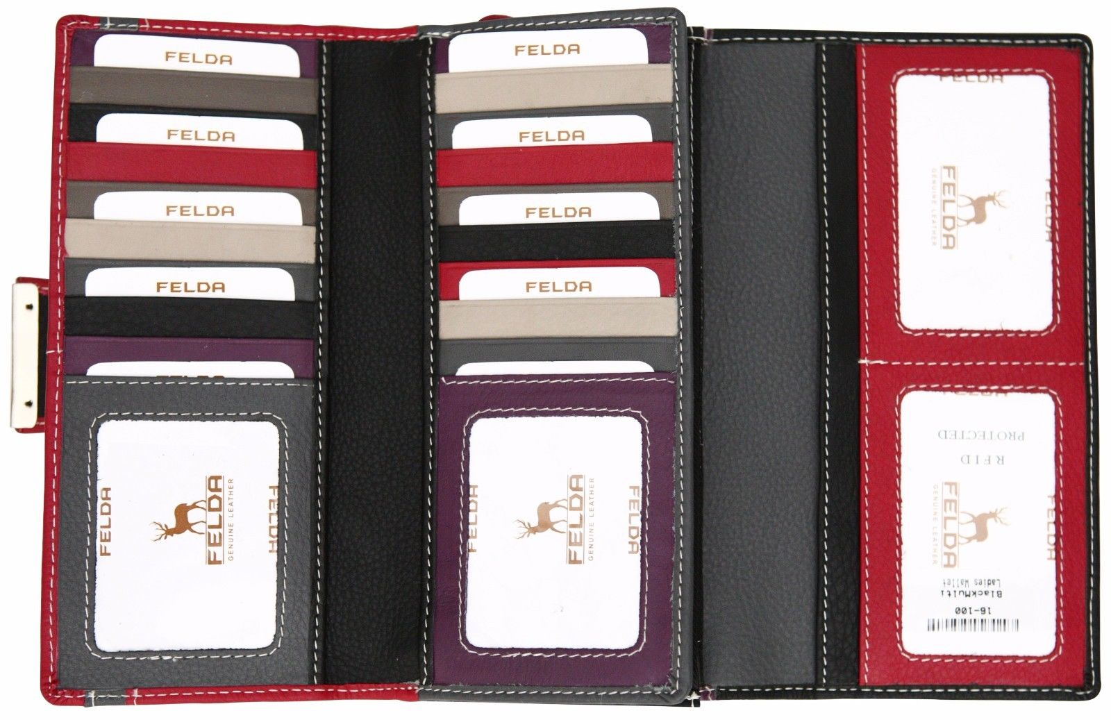 Felda-RFID-Ladies-Leather-Soft-Wallet-Large-Capacity-Purse-Womens-Multi-24-Card miniatuur 24