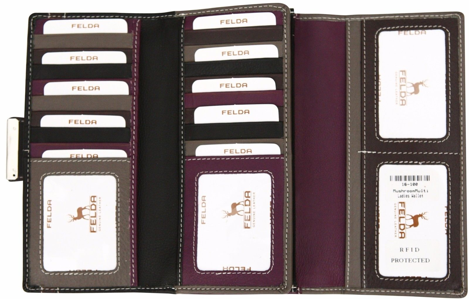 Felda-RFID-Ladies-Leather-Soft-Wallet-Large-Capacity-Purse-Womens-Multi-24-Card miniatuur 36