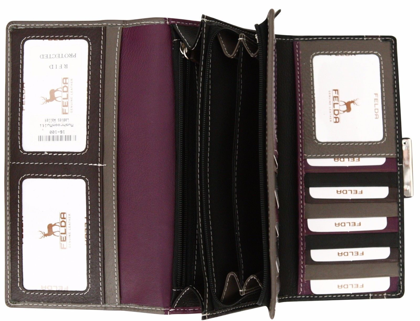 Felda-RFID-Ladies-Leather-Soft-Wallet-Large-Capacity-Purse-Womens-Multi-24-Card miniatuur 37