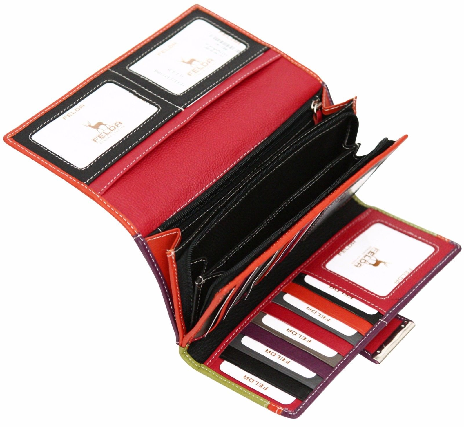 Felda-RFID-Ladies-Leather-Soft-Wallet-Large-Capacity-Purse-Womens-Multi-24-Card miniatuur 42