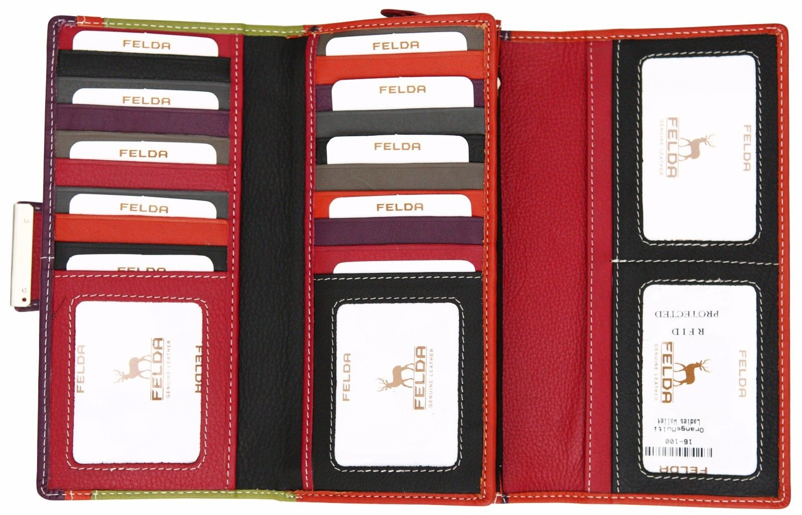 Felda-RFID-Ladies-Leather-Soft-Wallet-Large-Capacity-Purse-Womens-Multi-24-Card miniatuur 45