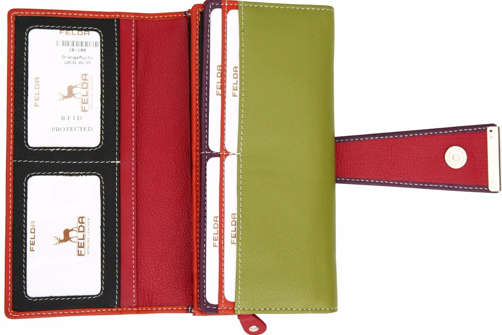 Felda-RFID-Ladies-Leather-Soft-Wallet-Large-Capacity-Purse-Womens-Multi-24-Card miniatuur 44
