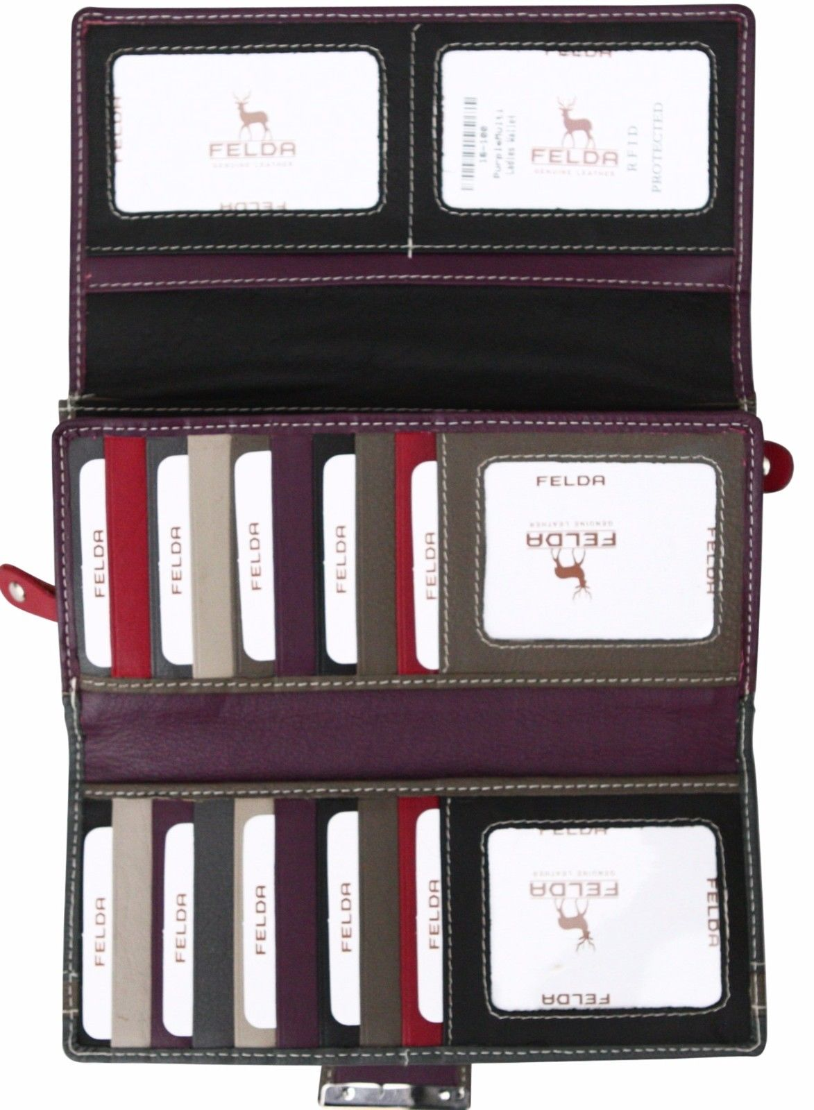 Felda-RFID-Ladies-Leather-Soft-Wallet-Large-Capacity-Purse-Womens-Multi-24-Card miniatuur 51