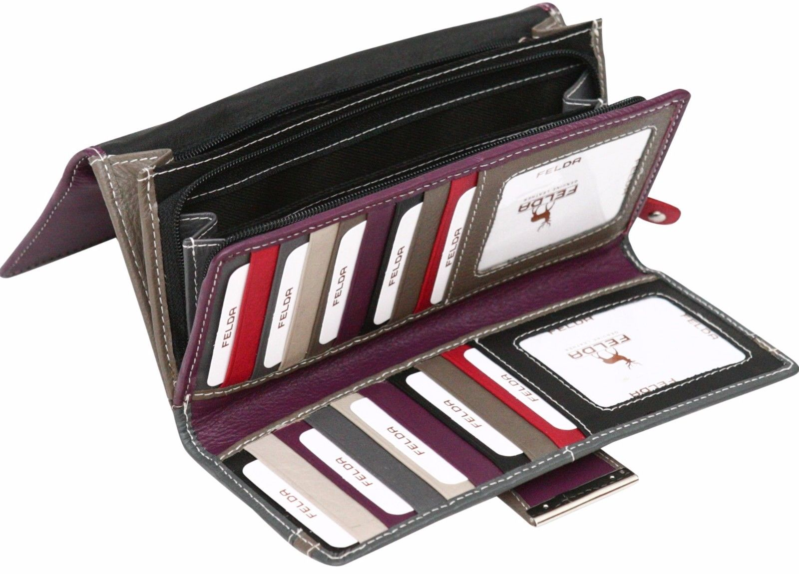 Felda-RFID-Ladies-Leather-Soft-Wallet-Large-Capacity-Purse-Womens-Multi-24-Card miniatuur 49
