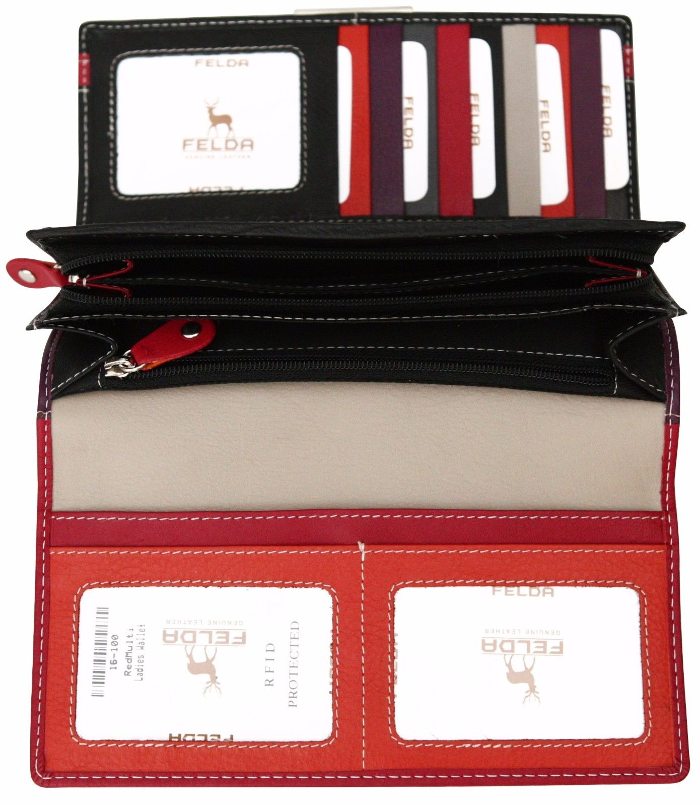 Felda-RFID-Ladies-Leather-Soft-Wallet-Large-Capacity-Purse-Womens-Multi-24-Card miniatuur 57