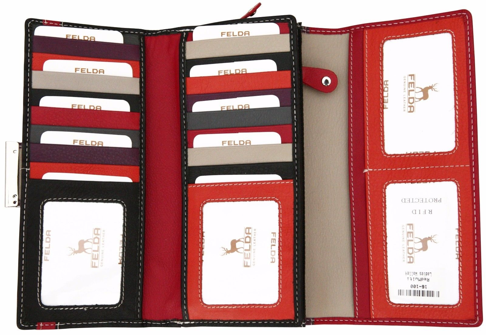Felda-RFID-Ladies-Leather-Soft-Wallet-Large-Capacity-Purse-Womens-Multi-24-Card miniatuur 56