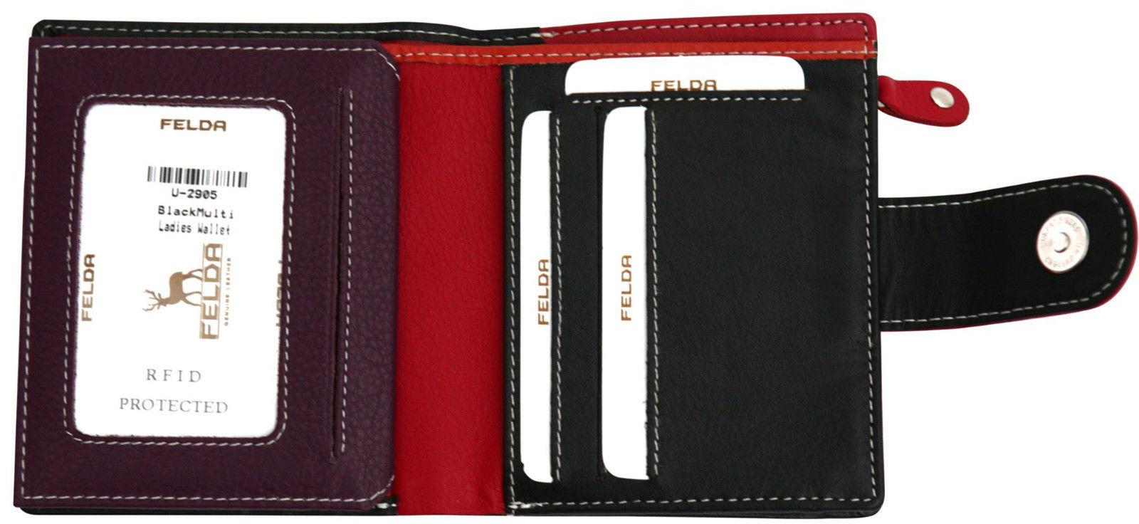 Felda-RFID-onorevoli-MEDAGLIA-amp-Card-Purse-Wallet-Genuine-Leather-Multi-SOFT-BOX-REGALO miniatura 19