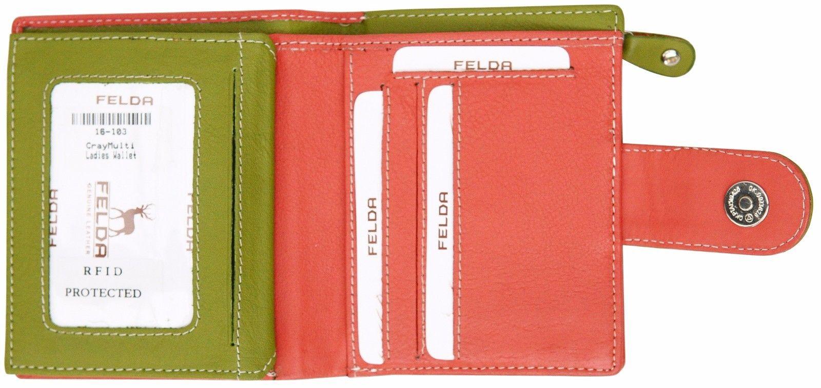 Felda-RFID-onorevoli-MEDAGLIA-amp-Card-Purse-Wallet-Genuine-Leather-Multi-SOFT-BOX-REGALO miniatura 27