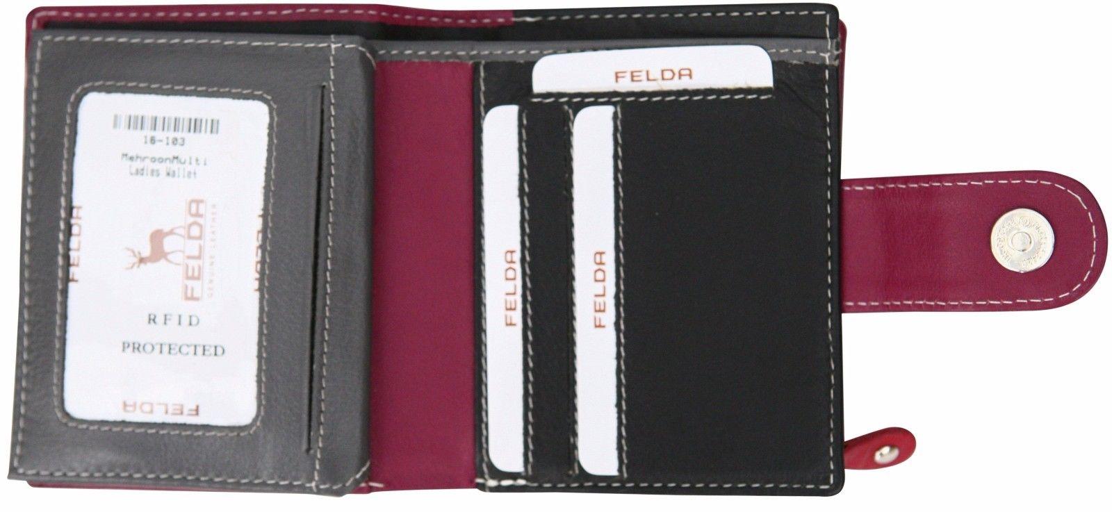 Felda-RFID-onorevoli-MEDAGLIA-amp-Card-Purse-Wallet-Genuine-Leather-Multi-SOFT-BOX-REGALO miniatura 46