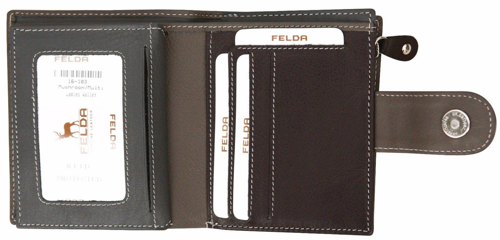 Felda-RFID-onorevoli-MEDAGLIA-amp-Card-Purse-Wallet-Genuine-Leather-Multi-SOFT-BOX-REGALO miniatura 58