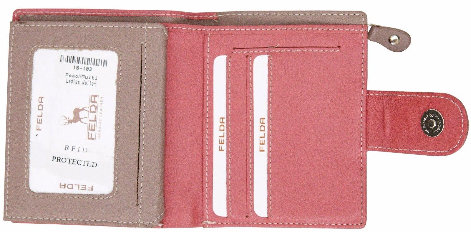 Felda-RFID-onorevoli-MEDAGLIA-amp-Card-Purse-Wallet-Genuine-Leather-Multi-SOFT-BOX-REGALO miniatura 90