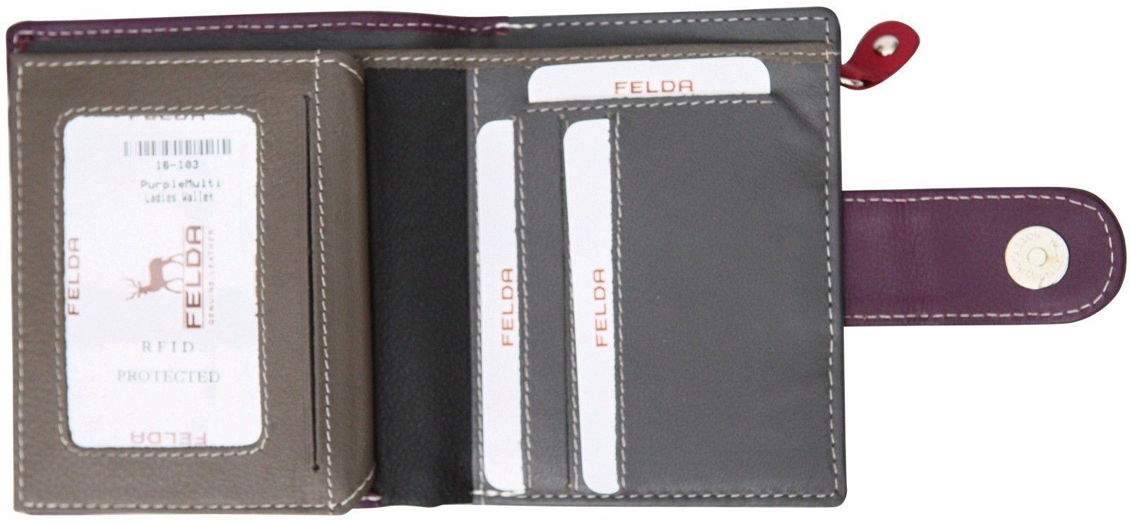 Felda-RFID-onorevoli-MEDAGLIA-amp-Card-Purse-Wallet-Genuine-Leather-Multi-SOFT-BOX-REGALO miniatura 96