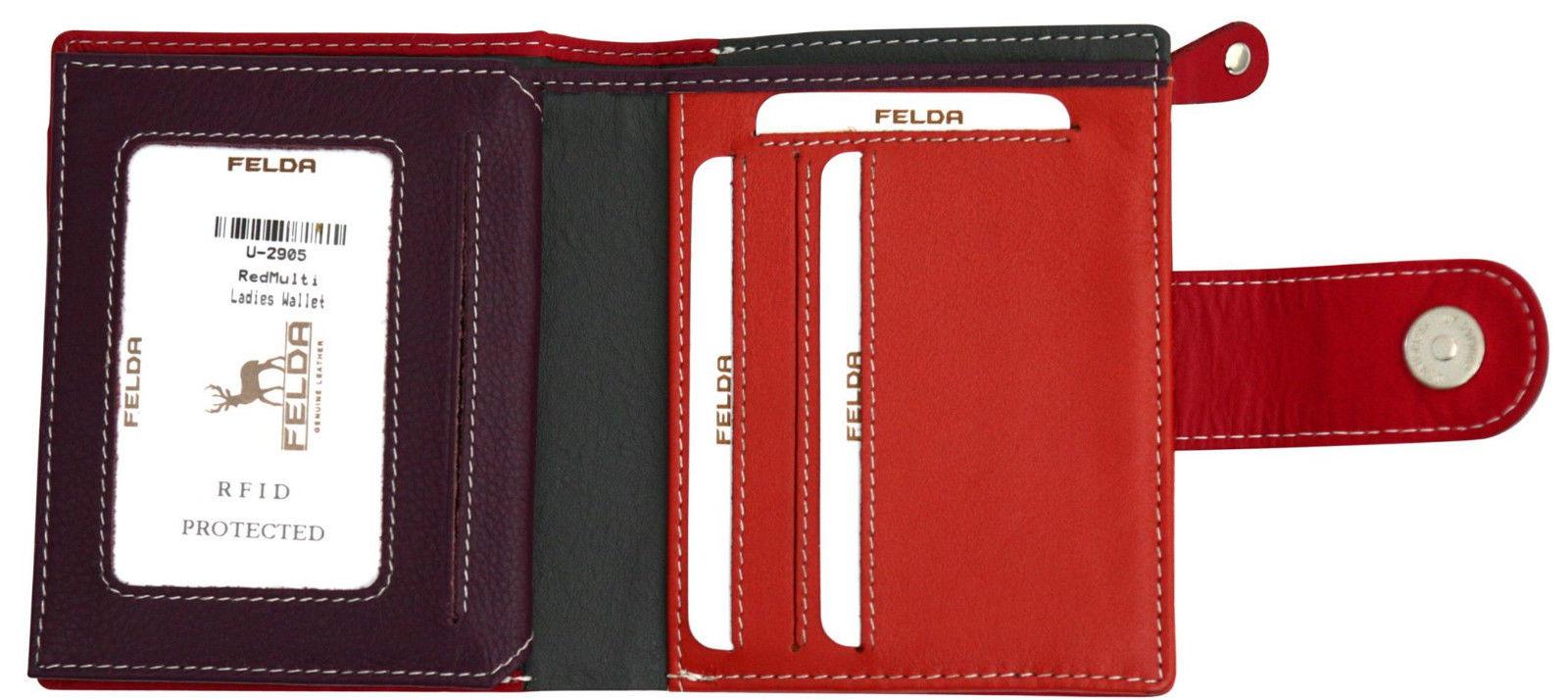 Felda-RFID-onorevoli-MEDAGLIA-amp-Card-Purse-Wallet-Genuine-Leather-Multi-SOFT-BOX-REGALO miniatura 107