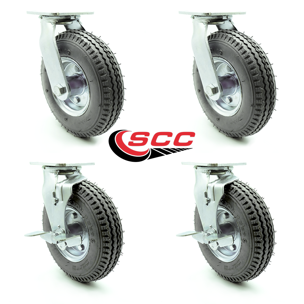 "caster Set of 4 Pneumatic Castor Wheels 8/"" new"