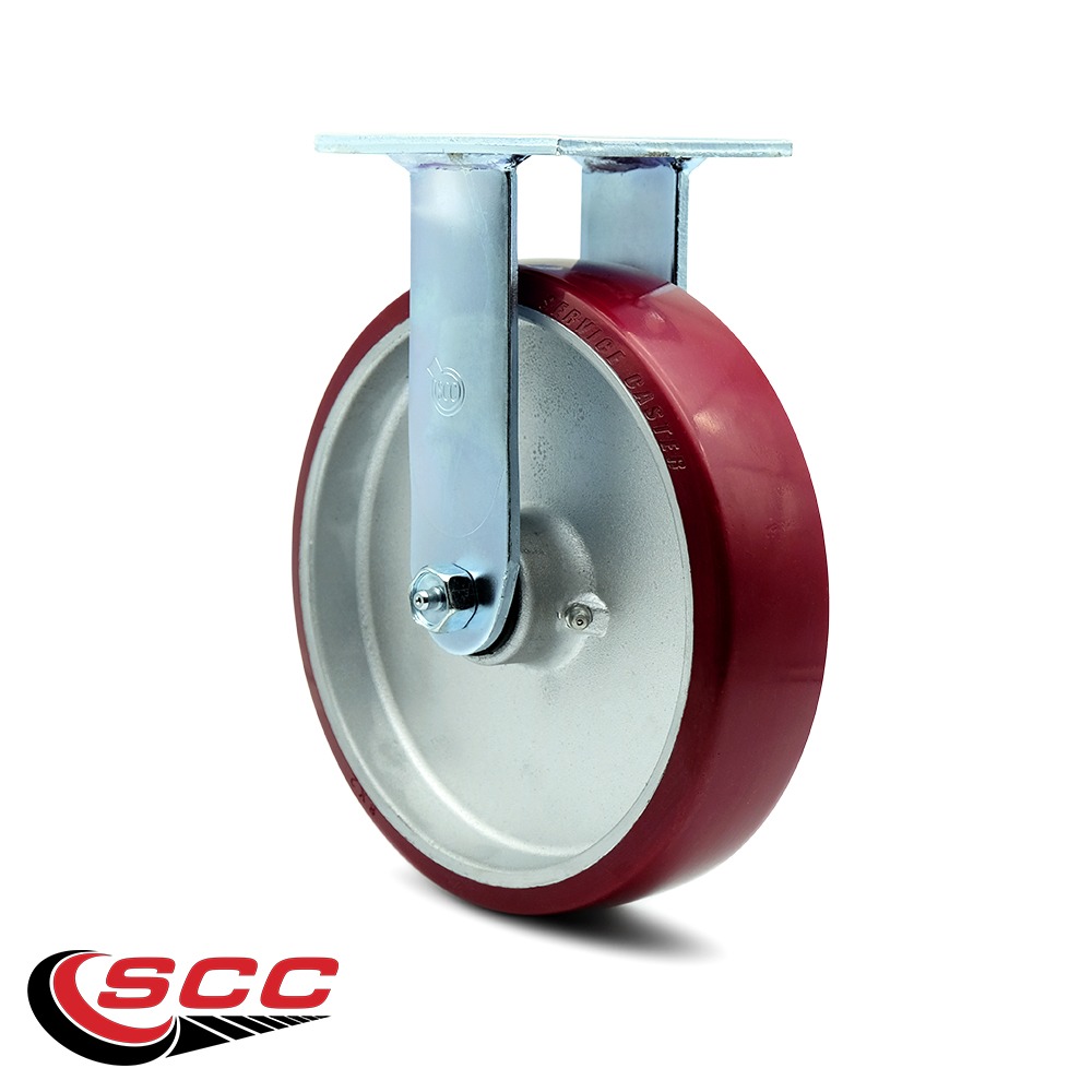 Swivel Casters Service Caster Non Marking 5,000 Lbs Total Capacity Red on Silver Set of 4 8 x 2 Polyurethane Wheel Caster Set
