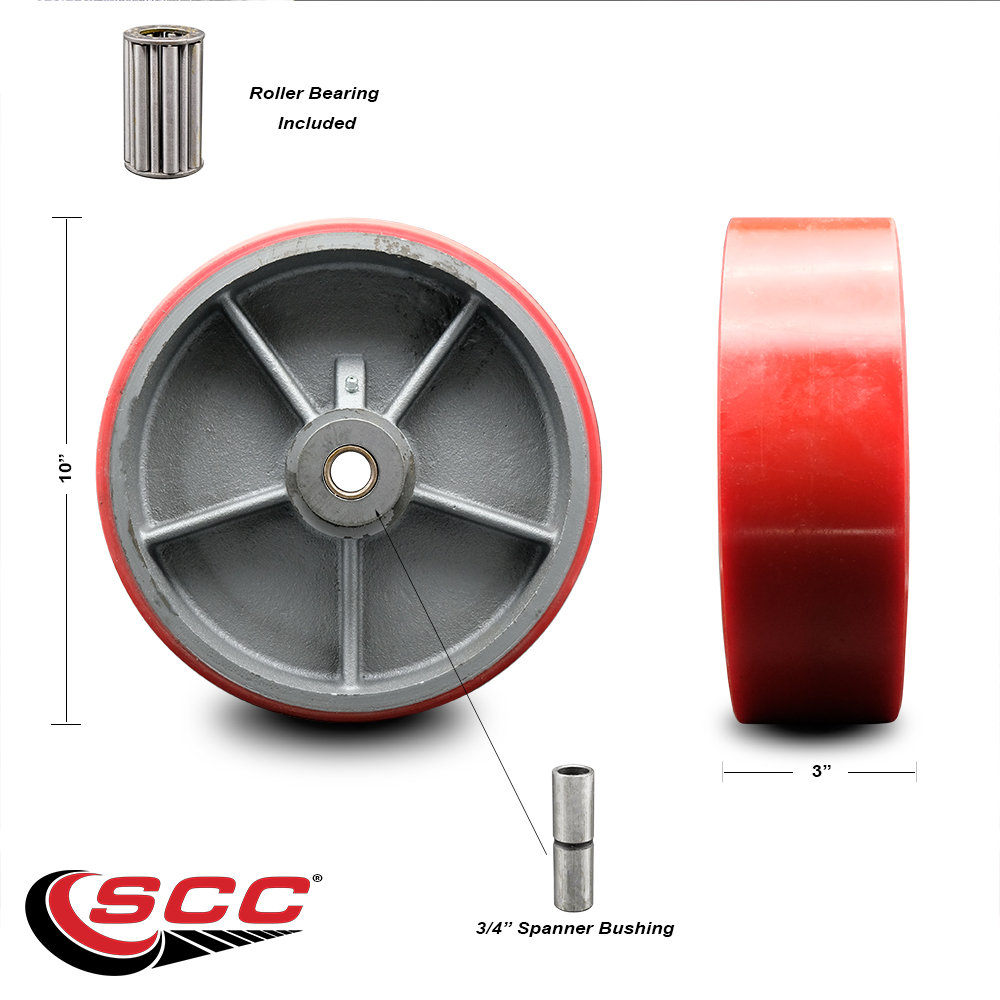 """SCC-10/"""" GN Poly on Cast Iron Wheel Only w//Roller Bearing-3//4/"""" Bore-3000 lbs Cpty"""
