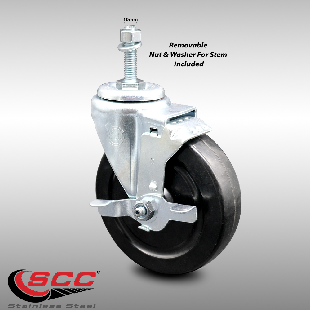 """Swivel Caster and 3/"""" x 1/"""" Hard Rubber Wheel and 1//2/"""" 13 x 1-1//2/"""" Threaded Stem"""