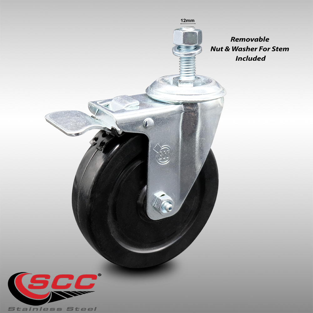 800 lbs Total Capacity Stainless Steel Soft Rubber Swivel Threaded Stem Caster Set of 4 w//4 x 1.25 Black Wheels and 1//2 Stems Service Caster Brand Includes 2 with Top Locking Brake
