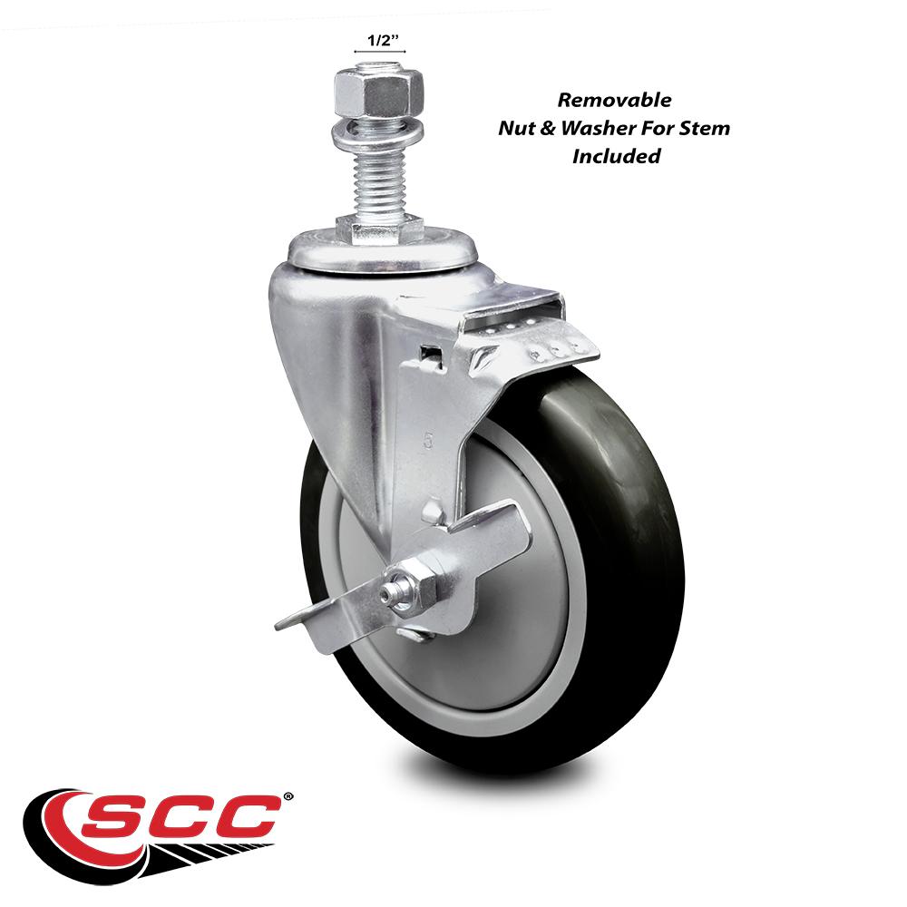 """250lbs//Caster SCC 3.5/"""" x 1.25/"""" Blue Polyurethane Wheel Rigid Caster"""