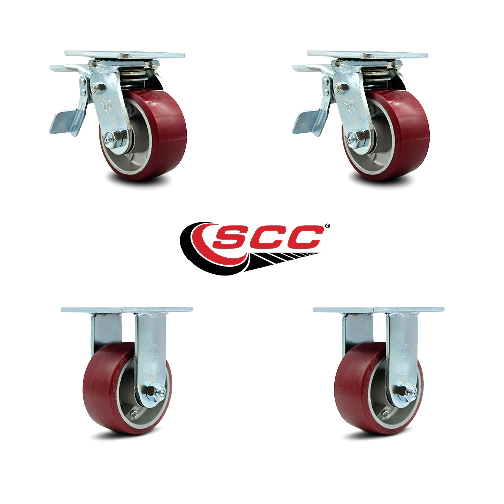 "6/"" x 2/"" Aluminum wheel Casters 2 Swivel with Total Lock Brake /& 2 Rigid"