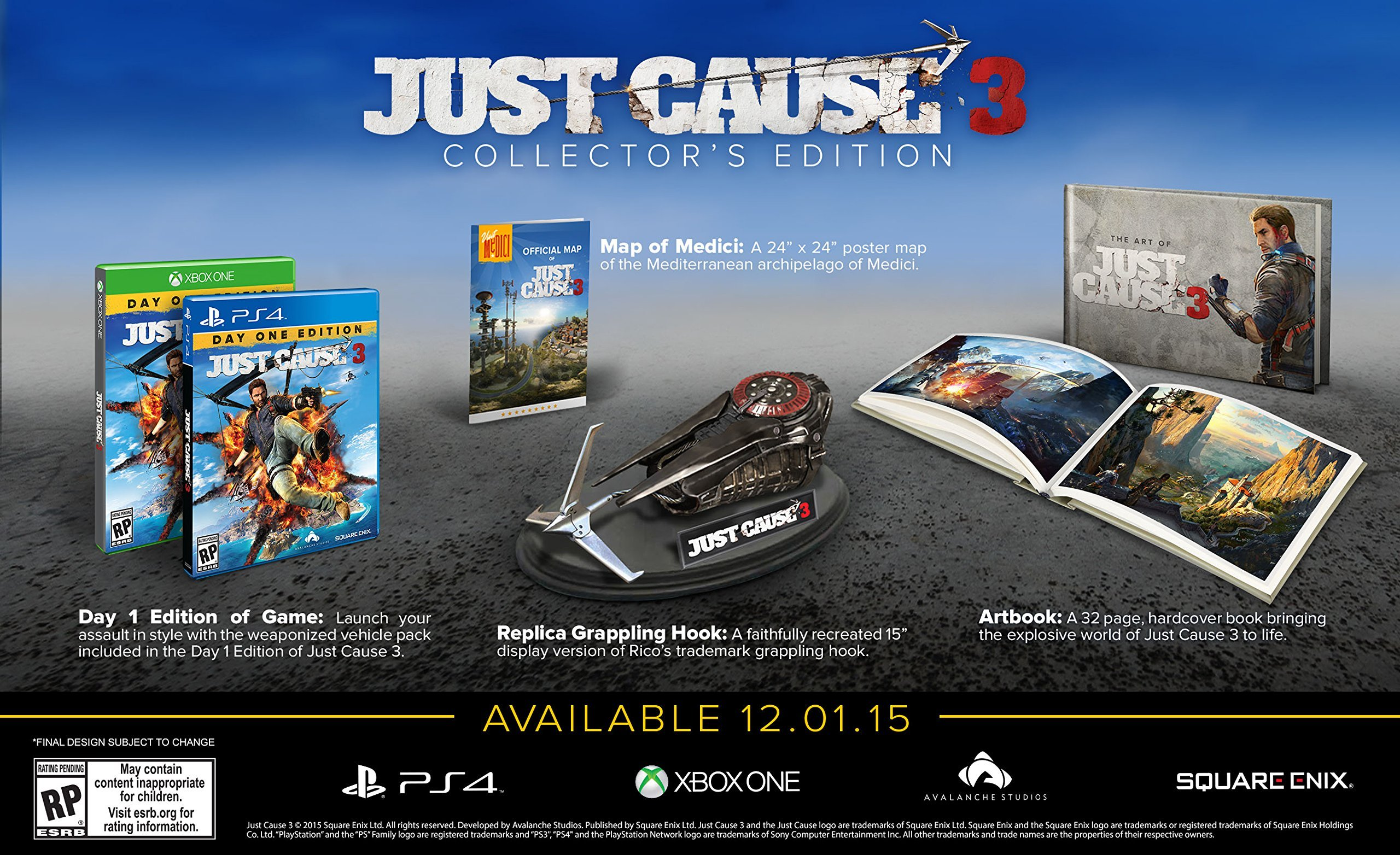 Just cause 3 updates: unboxed collector's edition & gorgeous ps4.
