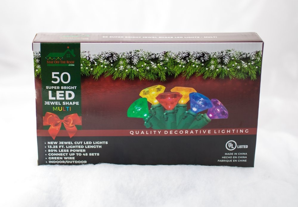 stay off the roof led christmas lights set multicolored damaged box