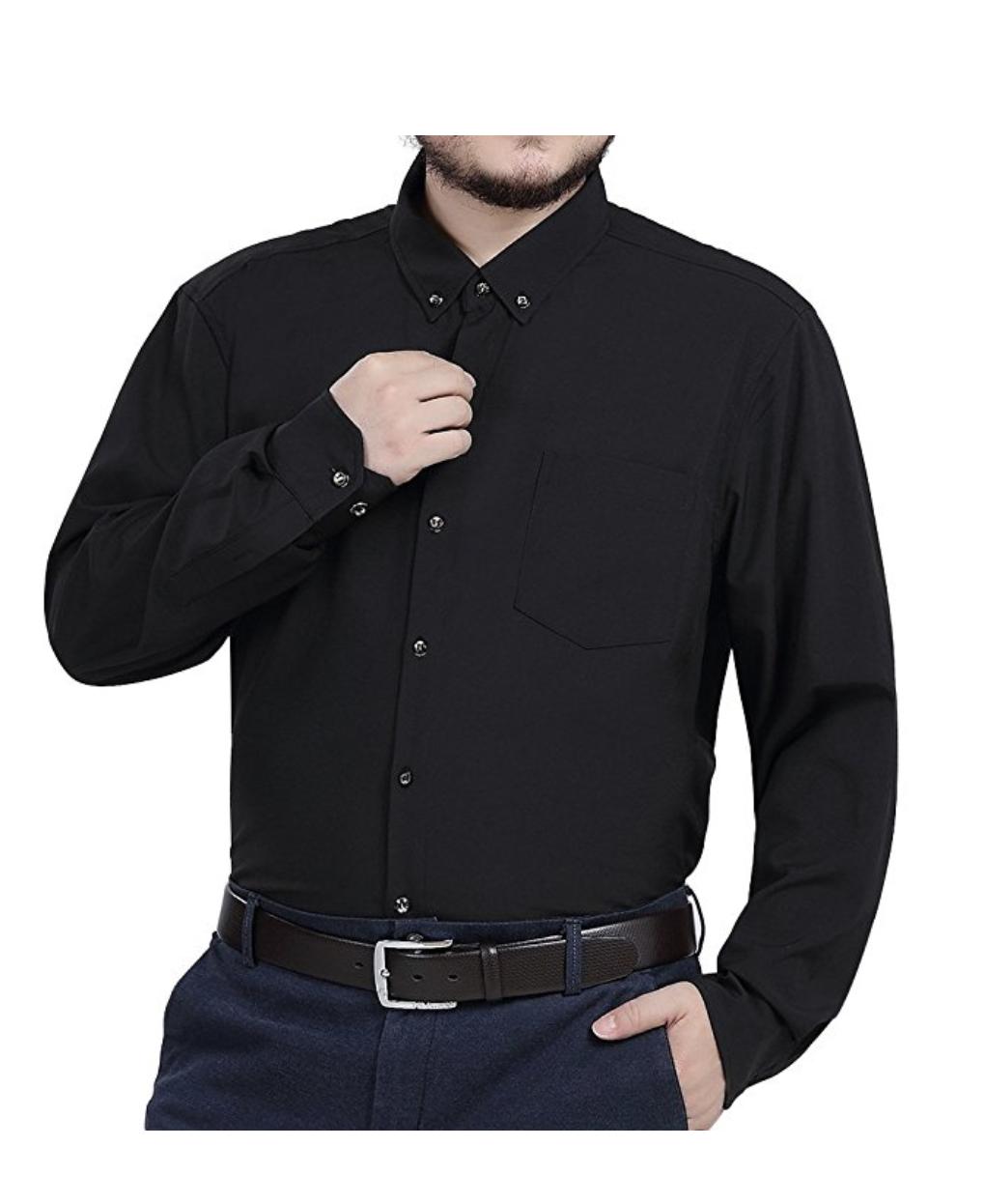 a59e3b99a79 Jeopace Mens Button Down Long Sleeve Stretch Dress Shirt Big Tall ...