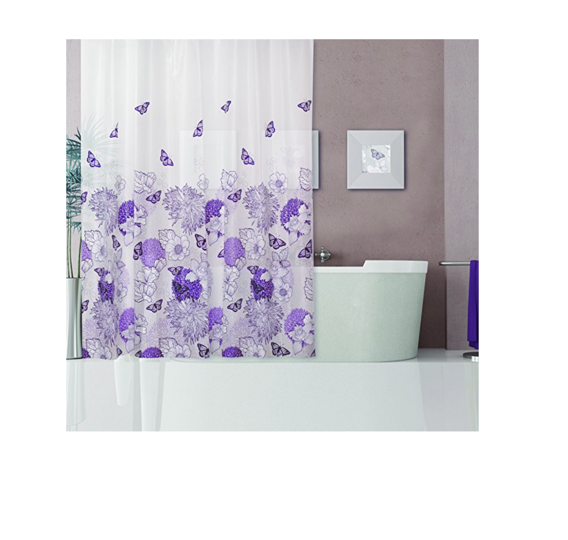 Dainty Home 13 Piece Shower Curtain And 12 Metal Hooks Set Purple