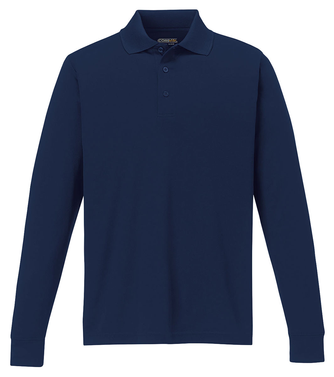North end men 39 s new polyester performance long sleeve for Mens long sleeve pique polo shirts