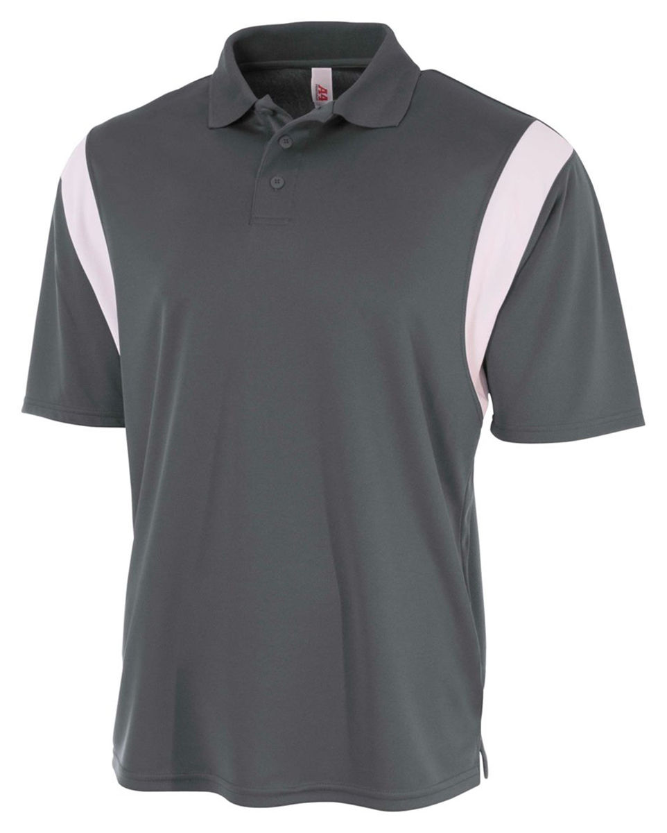 A4 men 39 s moisture wicking three button placket polyester for Moisture wicking button down shirts