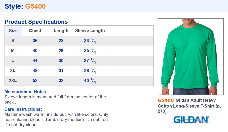 1af5726b4 Gildan Heavy Cotton T Shirt Size Guide   Top Mode Depot